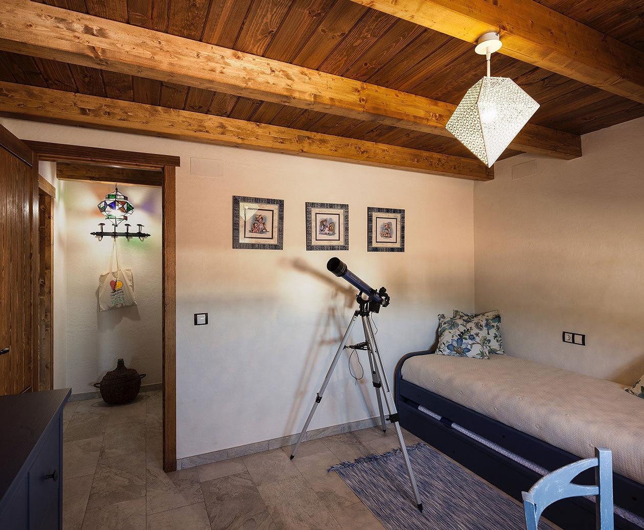 Interior room with telescope, ceiling and wooden access door